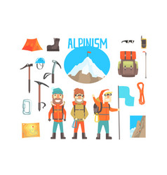 Three mountaineers and mountaineering equipment vector