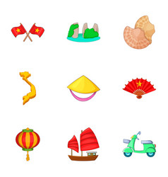 Typical vietnam icons set cartoon style vector