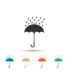 umbrella and rain drops icon on white background vector image
