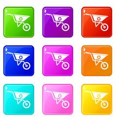 Wheelbarrow set 9 vector