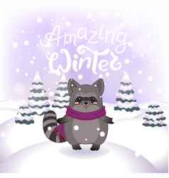 Winter with cute racoon vector