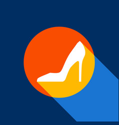 woman shoe sign white icon on tangelo vector image