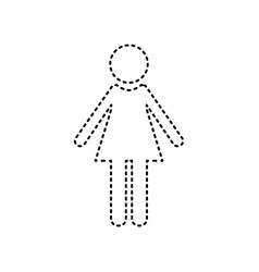 woman sign black dashed icon vector image