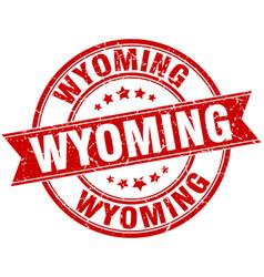 Wyoming red round grunge vintage ribbon stamp vector