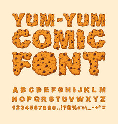 Yum yum comic font letters of cookies biscuits vector