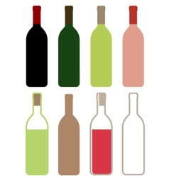 colorful wine bottles vector image