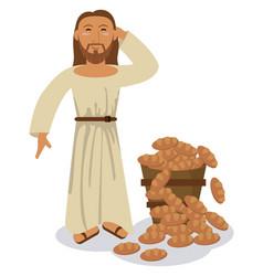 jesus christ multiplication bread miracle symbol vector image vector image