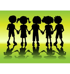 Kid silhouettes holding hands vector image