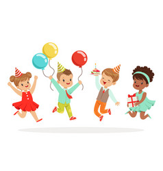 Little children birthday celebration party with vector