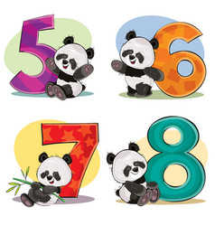 Set of cute baby panda bears with numbers vector