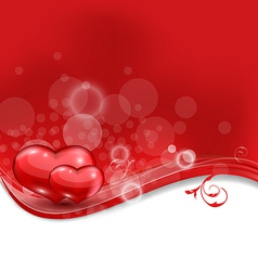 Valentines floral card with beautiful hearts vector image vector image
