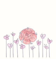 watercolor round flower frame hand drawn floral vector image vector image