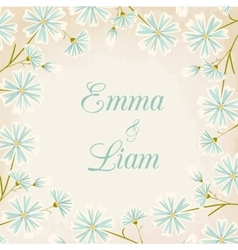 Daisy flowers round border wedding card template vector image