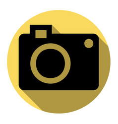 digital camera sign flat black icon with vector image