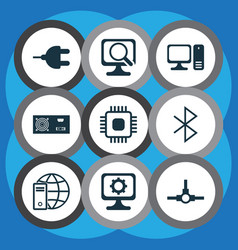 Set of 9 computer hardware icons includes power vector