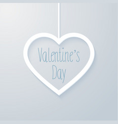 valentines day card with hanging heart vector image vector image