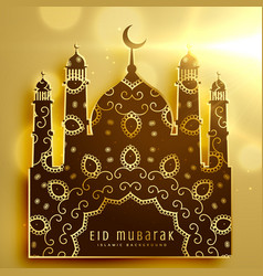 beautiful mosque design with golden decoration vector image