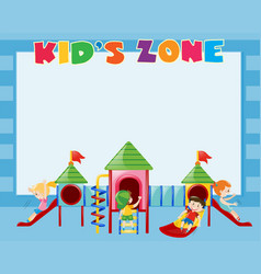 border template with kids play on slide vector image