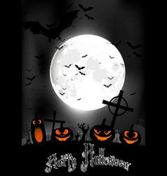 halloween night with pumpkins and bats vector image vector image