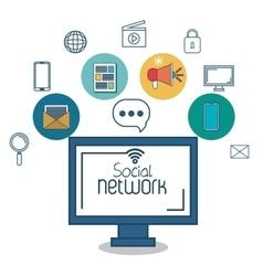 monitor social network icon media design vector image vector image