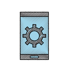 smartphone with gear technology solution icon vector image