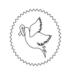 symbol dove with breast cancer ribbon in the peak vector image vector image