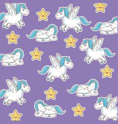 unicorn with wings star kawaii seamless pattern vector image