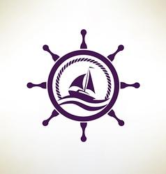 yacht symbol regatta and travel concept vector image vector image