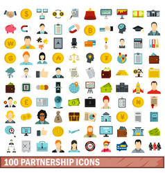 100 partnership icons set flat style vector image vector image