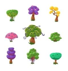 Fantastic trees set vector