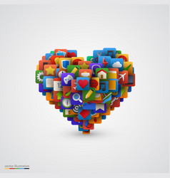 heart with many application icons vector image