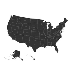 Map of USA with state names vector image vector image