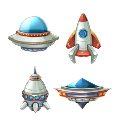 Spaceship and UFO set in cartoon style vector image
