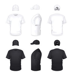 white and black t-shirts and caps vector image vector image