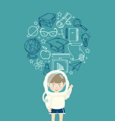 young boy in an astronaut suit with education icon vector image vector image