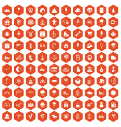 100 childrens parties icons hexagon orange vector