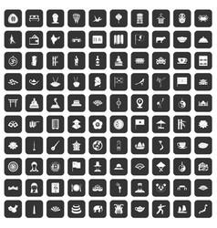100 dish icons set black vector
