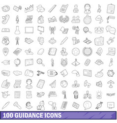 100 guidance icons set outline style vector