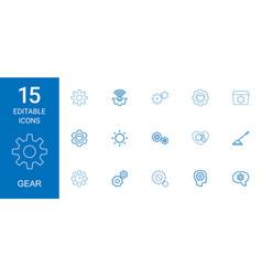 15 gear icons vector