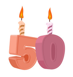 50 years birthday number with festive candle for vector