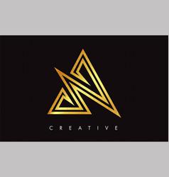 a gold golden letter modern trendy design logo vector image