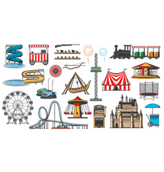 Amusement park and funfair carnival attractions vector
