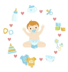 Baby boy surrounded with object it needs vector