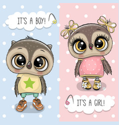 baby shower greeting card with owls boy and girl vector image