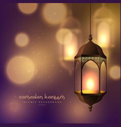 Beautiful hanging lamps on blurred bokeh vector