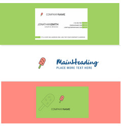 beautiful ice cream logo and business card vector image