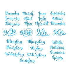 Big handdrawn calligraphic monthly set with vector
