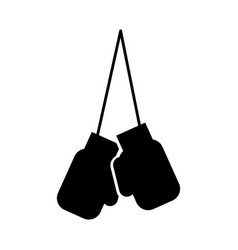 Black icon hanging boxing gloves vector