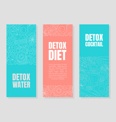Blue and pink layouts for detox flyers vector