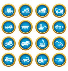 building vehicles icons blue circle set vector image